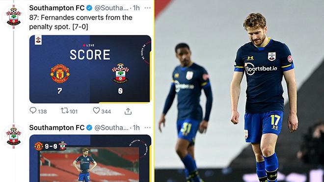 Twitter của Southampton chán nản, không buồn cập nhật tỷ số trận thua MU