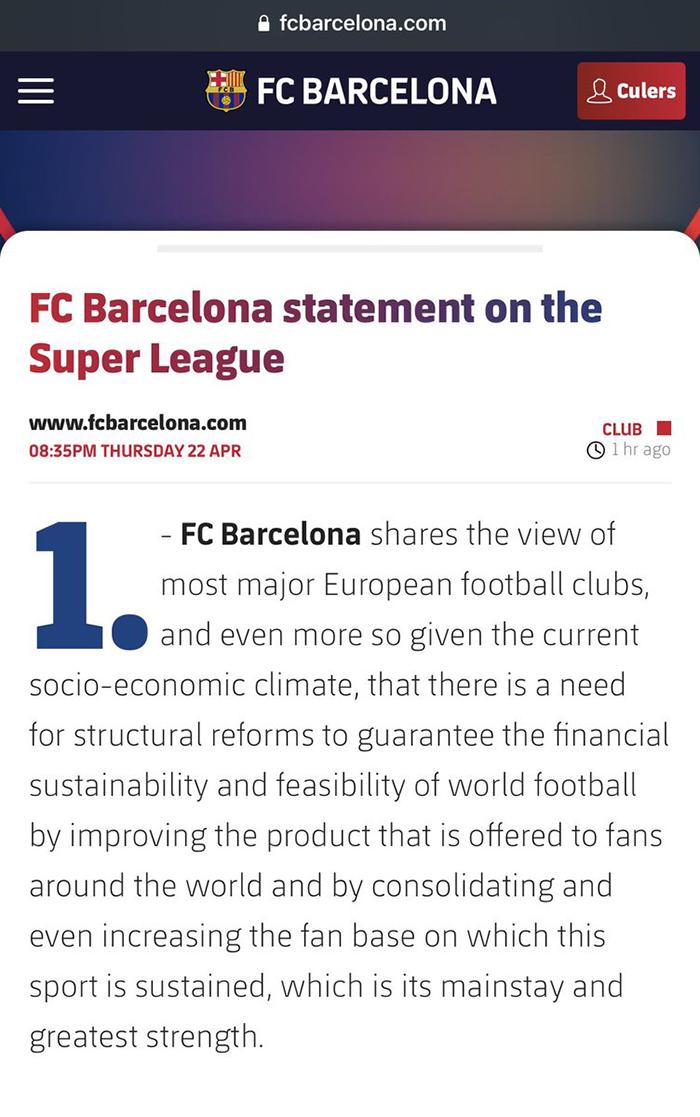 Super League, barcelona, Barcelona sẽ tham gia Super League, thông cáo chính thức của Barca, Barca va Super League, Barcelona, bong da hom nay, bóng đá, bong da