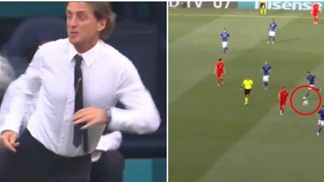 Fan tròn mắt với pha đỡ bóng của HLV Mancini
