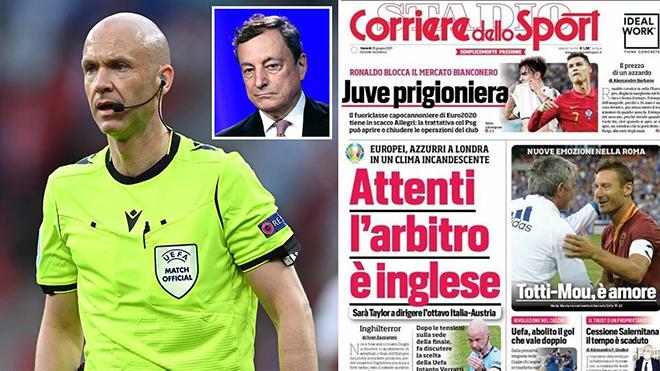 Ý vs Áo: Truyền thông Ý lo ngại về trọng tài Anthony Taylor