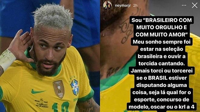 Neymar giận dữ với CĐV Brazil ủng hộ Messi vô địch Copa America