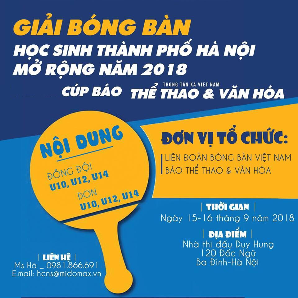 GIẢI BÓNG BÀN HỌC SINH TP HÀ NỘI MỞ RỘNG NĂM 2018 - CÚP BÁO THỂ THAO & VĂN HÓA (ĐIỀU LỆ)