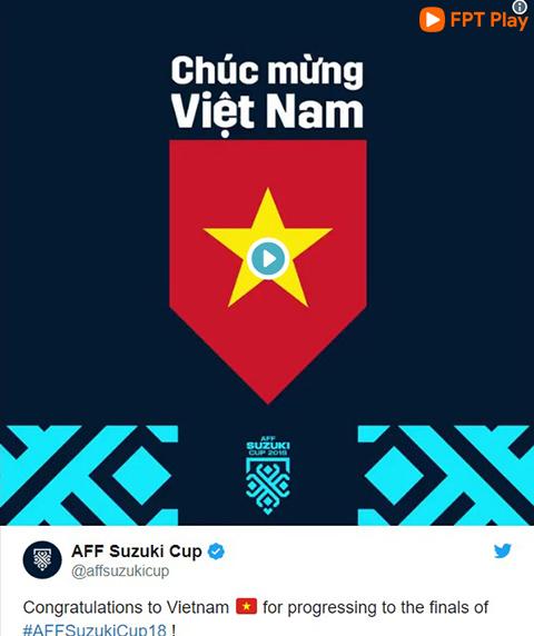 Trang Twitter của AFF Suzuki Cup chúc mừng chiến thắng của tuyển Việt Nam
