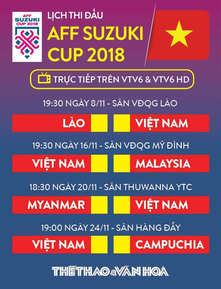 Việt Nam, Đội tuyển Việt Nam, tuyển Việt Nam, lịch thi đấu của đội tuyển Việt Nam, lịch thi đấu của đội tuyển Việt Nam tại AFF Cup 2018, trực tiếp đội tuyển Việt Nam ở AFF Cup 2018, lịch truyền hình trực tiếp tuyển Việt Nam AFF Cup 2018