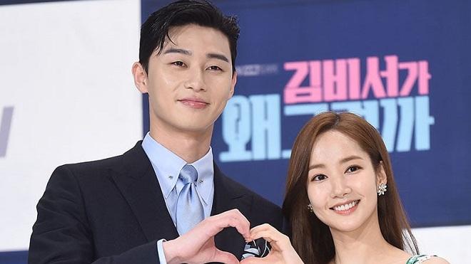 Chết cười với phản ứng của Park Seo Joon và Park Min Young khi xem mình đóng 'Thư ký Kim'