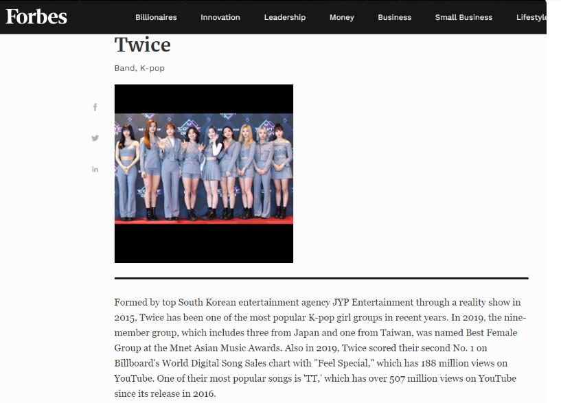 BTS, Blackpink, Twice, Twice đại diện Kpop lọt top 30 Under 30 châu Á của Forbes, Twice là nhóm nhạc Kpop duy nhất lọt top 30 Under 30 châu Á của Forbes, Bts, blackpink