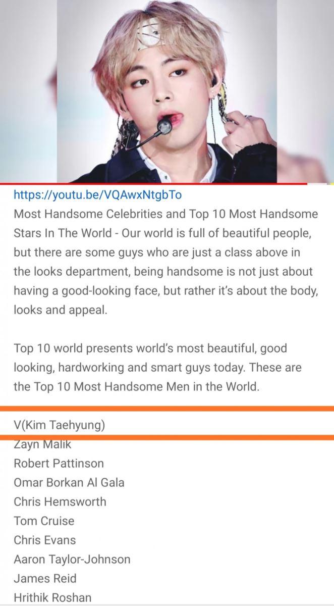 V, BTS, V là 'Người đàn ông đẹp trai nhất thế giới năm 2020', Nhan sắc của V, bts, Top10World, Zayn Malik, Chris Hemsworth, Chris Evans, Tom Cruise và Robert Pattinson