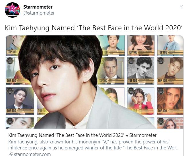 V BTS, V được vinh danh là 'Gương mặt đẹp nhất thế giới năm 2020', bts, Entertainment Awards, Zayn Malik, Chris Evan, Tom Cruise, khuôn mặt của V, đại diện hình ảnh Kpop