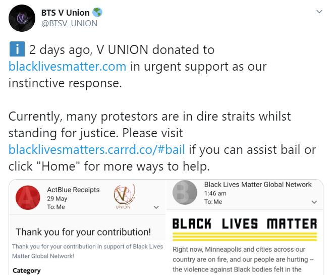 V BTS, V vận động quyên góp vì quyền người da đen, #BlackLivesMatter, bts, phong trào Black Lives Matter, V Union, V làm từ thiện, V hoạt động xã hội, V quyên góp tiền