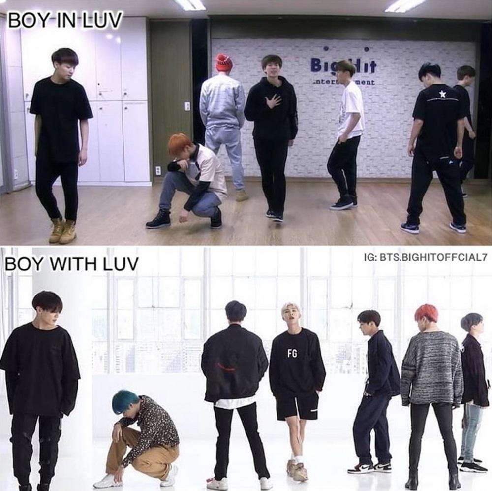 BTS, ARMY, Boy In Luv, Boy With Luv, BTS theo thời gian, so sánh Boy In Luv với Boy With Luv
