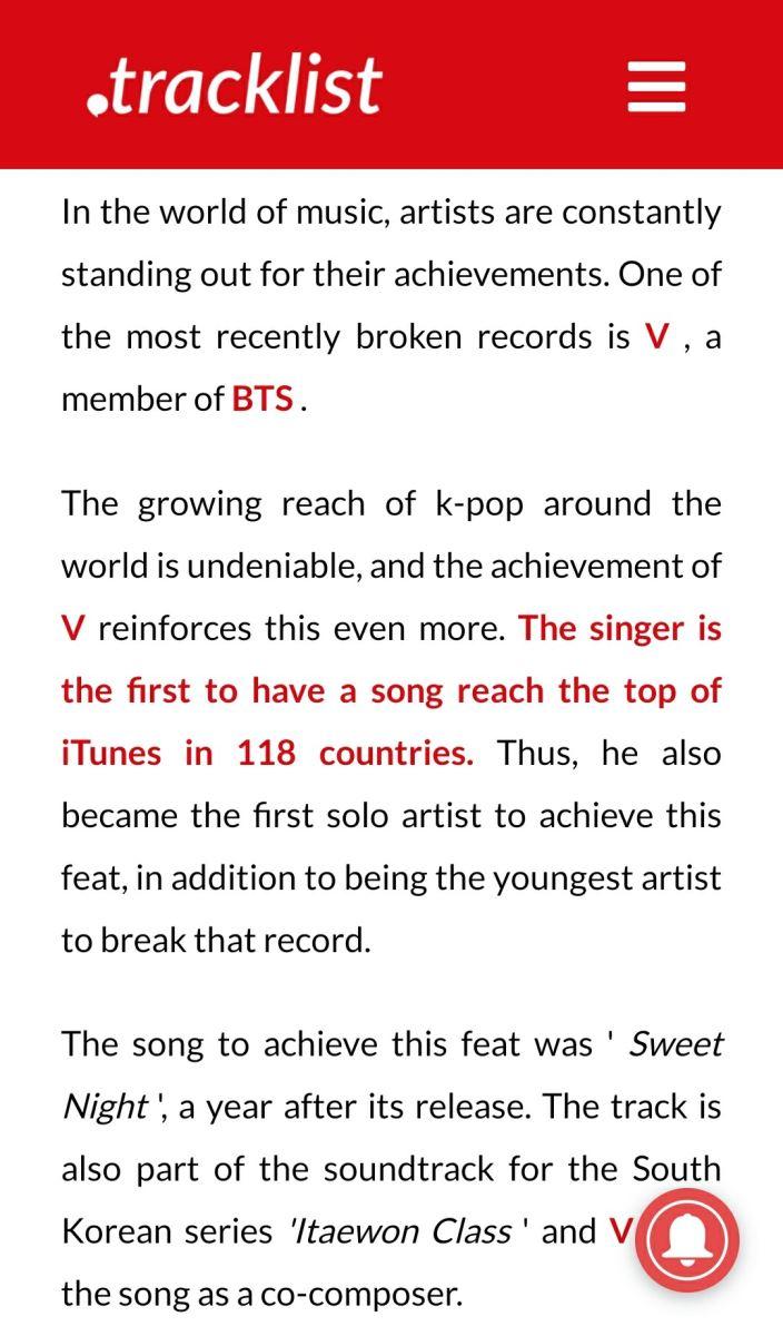 BTS, V, V thánh kỷ lục 2021, V xếp ngang Ariana Grande và Nicki Minaj, V kỷ lục 2021, V record 2021, V Sweet Night record