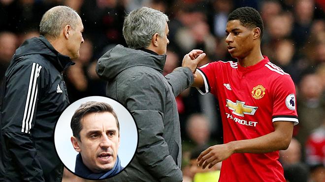 Jose Mourinho: 'Tôi phải rút Rashford ra vì sợ… Gary Neville'