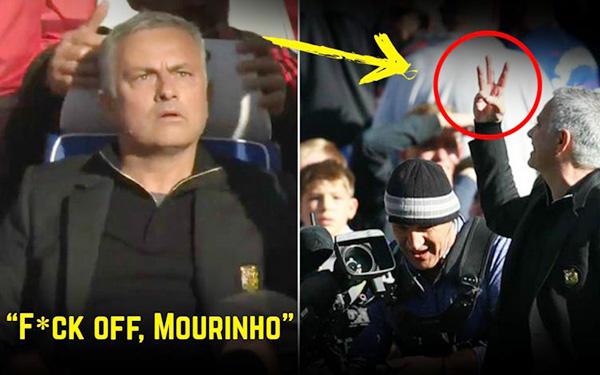 Mourinho bị khiêu khích, Mourinho bị phạt, Mourinho ẩu đả trợ lý Chelsea, Chelsea 2-2 MU, Chelsea vs MU, Fan Chelsea vô ơn, lăng mạ, chửi bới, 3 ngón tay