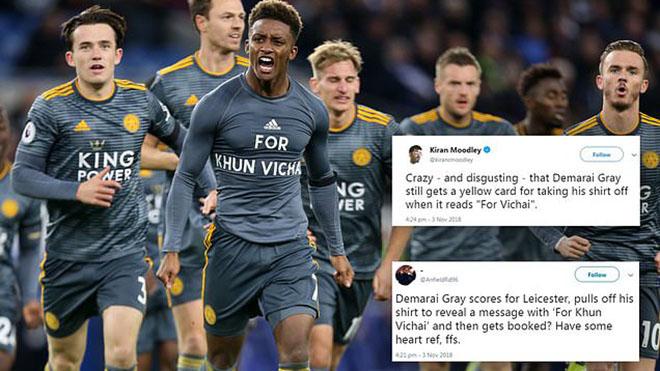 Trọng tài hứng bão chỉ trích vì phạt sao Leicester cởi áo tri ân cố chủ tịch