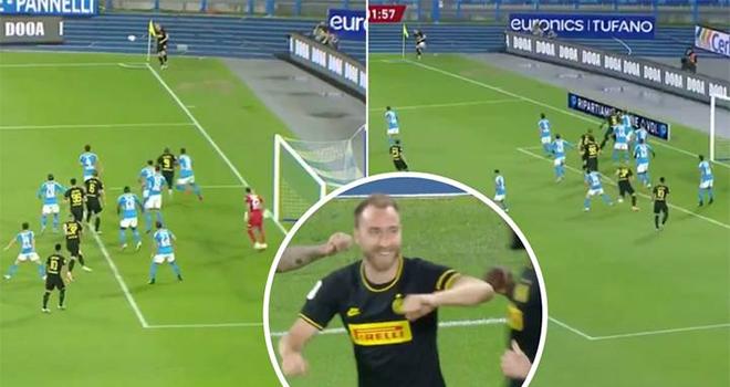 Ket qua bong da, Napoli vs Inter Milan, Eriksen đá phạt góc thành bàn, BK Cúp Ý, kết quả bóng đá, video Napoli 1-1 Inter, Eriksen lập siêu phẩm từ đá phạt góc, Eriksen