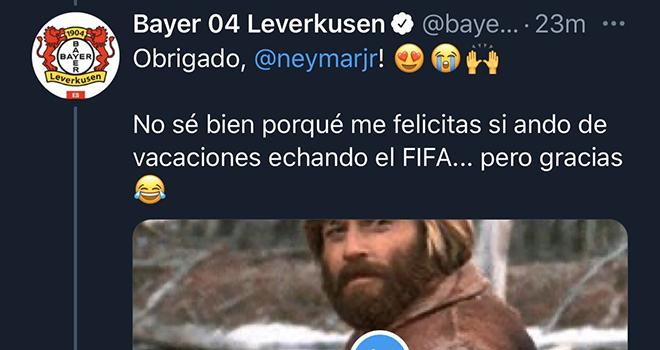 PSG 0-1 Bayern Munich, Chung kết Cúp C1, Neymar chúc mừng nhầm, Bayer Leverkusen, Neymar, Twitter, Bayern Munich, Leverkusen, Bayer, chung kết Champions League, chúc mừng