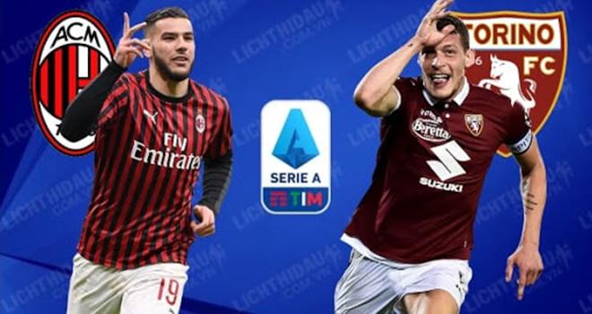 Milan vs Torino, trực tiếp bóng đá, lịch thi đấu serie a