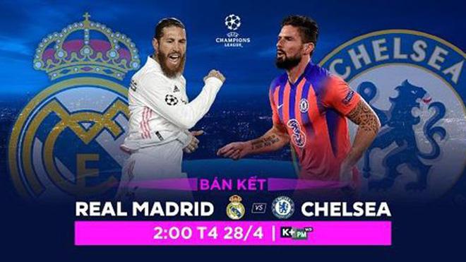 Lịch thi đấu bóng đá hôm nay. Trực tiếp Real Madrid vs Chelsea. K+. K+PM