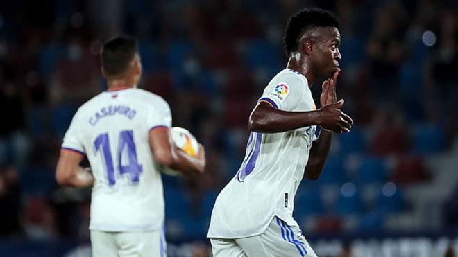 Kết quả bóng đá, kết quả Levante vs Real Madrid, video Levante vs Real Madrid, Levante vs Real Madrid, kết quả La Liga, kết quả bóng đá Tây Ban Nha, Vinicius lập cú đúp