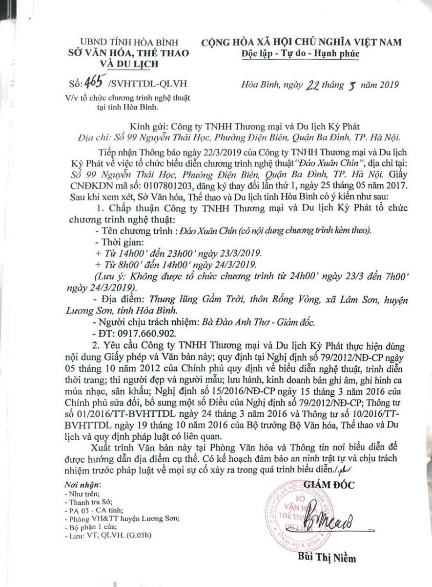 Văn bản cho phép tổ chức chương trình Đáo Xuân Chín của Sở VH,TT&DL Hòa Bình