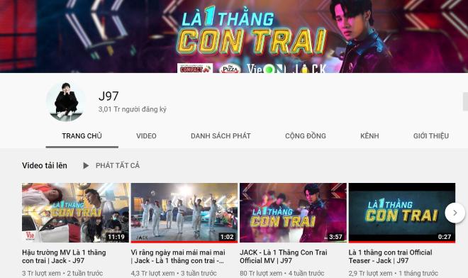 Jack, kênh Youtube đạt 3 triệu đăng ký, Là một thằng con trai, là một thằng con trai, MV Là một thằng con trai, jack, J97, J97 youtube, jack là môt thằng con trai, JACK