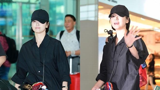 Song Hye Kyo khoe tóc tomboy ở sân bay, lịch sự cúi chào báo giới