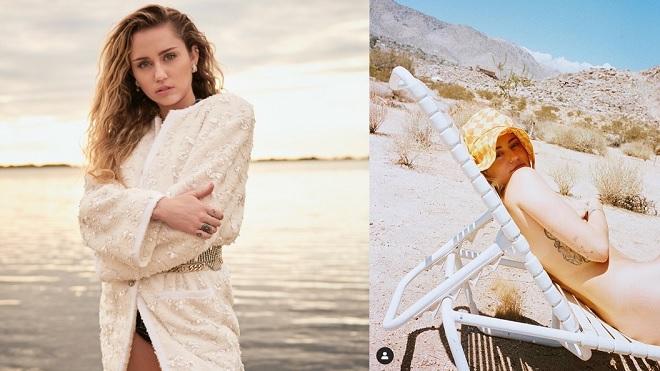 Miley Cyrus tung ảnh khỏa thân giữa sa mạc sau khi kết hôn không lâu