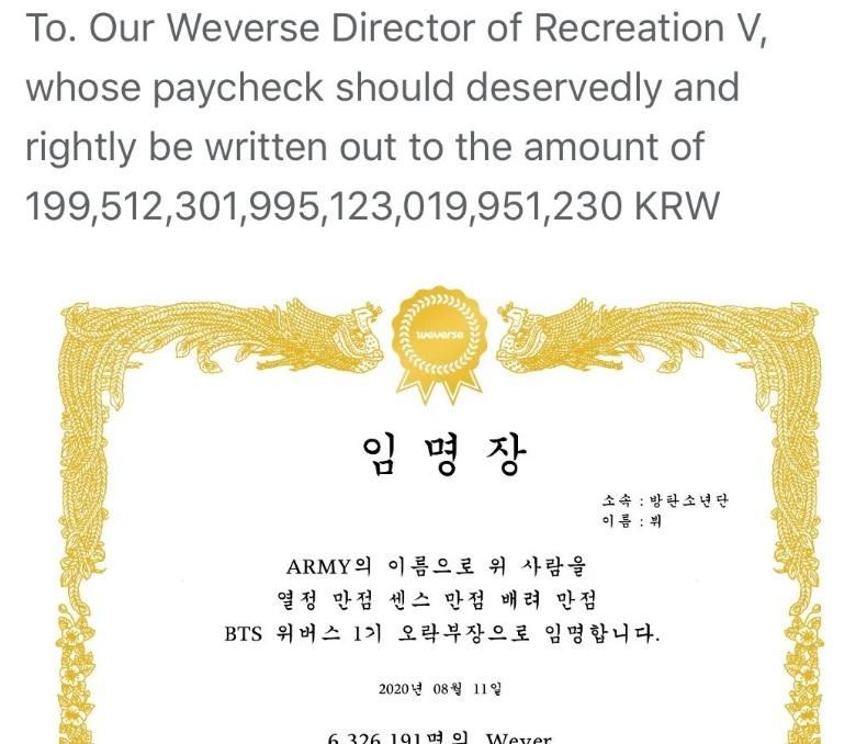 BTS, V, V BTS, V BTS được vinh danh, V Weverse, V BTS Weverse, Jin, Jin BTS, Jin BTS Weverse,  V BTS lầy lội, V BTS hài hước, phản ứng của V BTS
