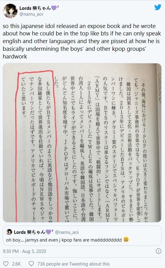 BTS, Twice, Tehoshi Yuya, BTS thành công, Twice thành công, sao Nhật nói về BTS, Tehoshi Yuya bị ném đá, Tehoshi Yuya nói về Twice, lý do BTS thành công