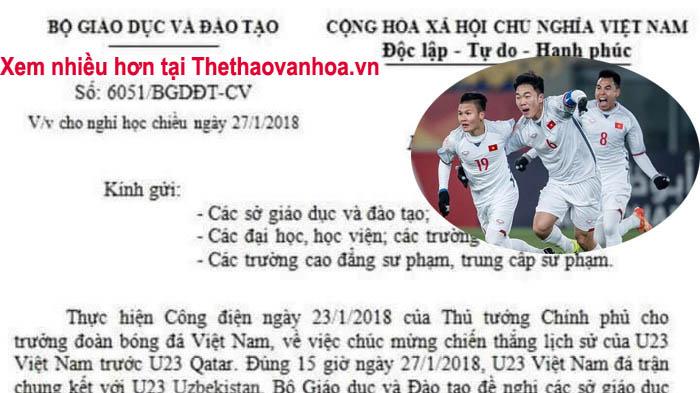 Bộ GD&ĐT đề nghị công an điều tra công văn cho học sinh nghỉ học xem U23 Việt Nam đá Chung kết