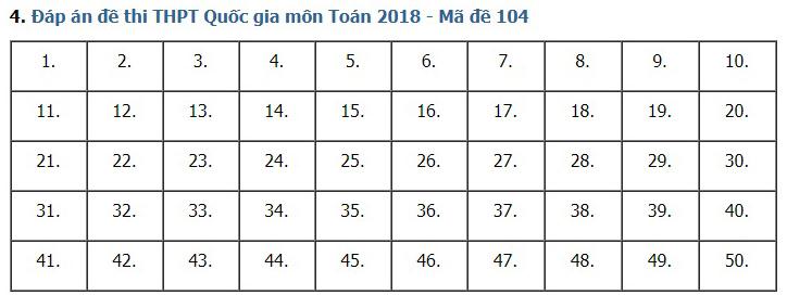 Giải đề thi toán 2018 mã đề 104