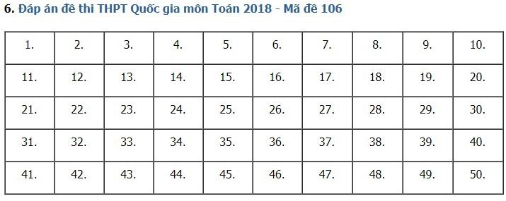 Giải đề thi toán 2018 mã đề 106