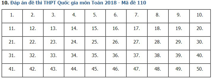Giải đề thi toán 2018 mã đề 110