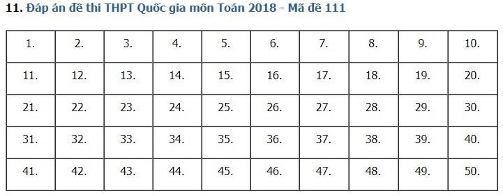 Giải đề thi toán 2018 mã đề 111