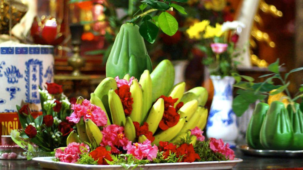 Cách bày mâm ngũ quả trên bàn thờ Tết chuẩn Phúc Quý Thọ Khang Ninh