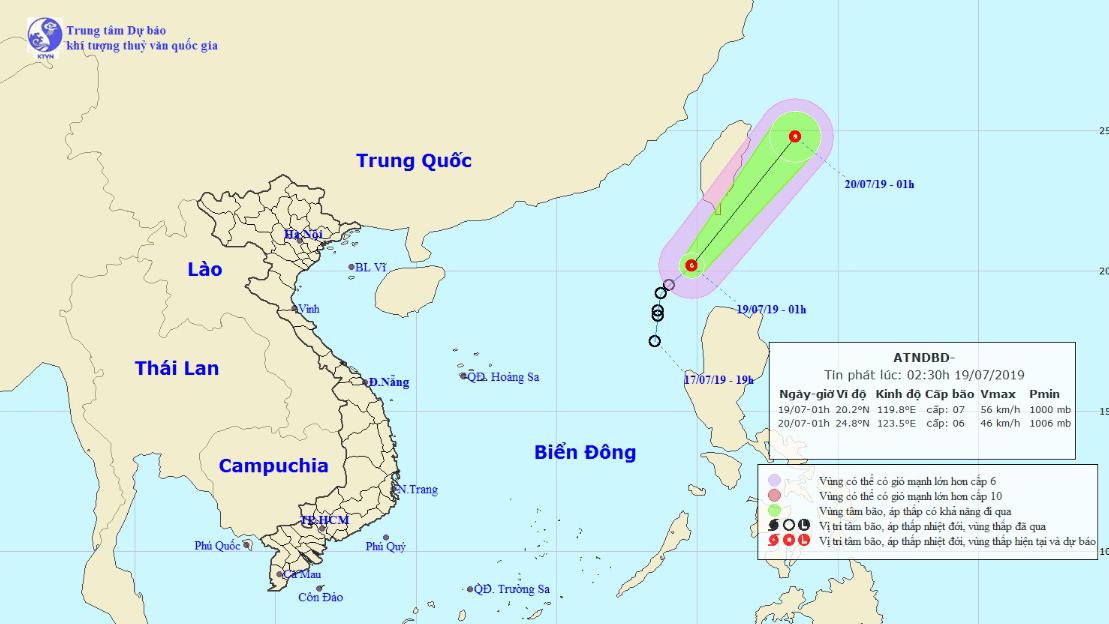 Dự báo thời tiết 19/7: Áp thấp nhiệt đới mạnh giật cấp 9, miền Trung nắng nóng trên 38 độ