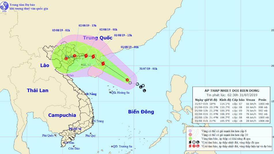 Dự báo thời tiết: Áp thấp nhiệt đới sẽ mạnh lên thành bão giật cấp 10 trong 24 giờ tới