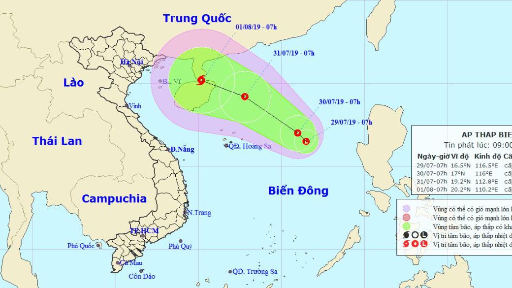 Tin về vùng áp thấp khả năng mạnh lên thành áp thấp nhiệt đới trên Biển Đông