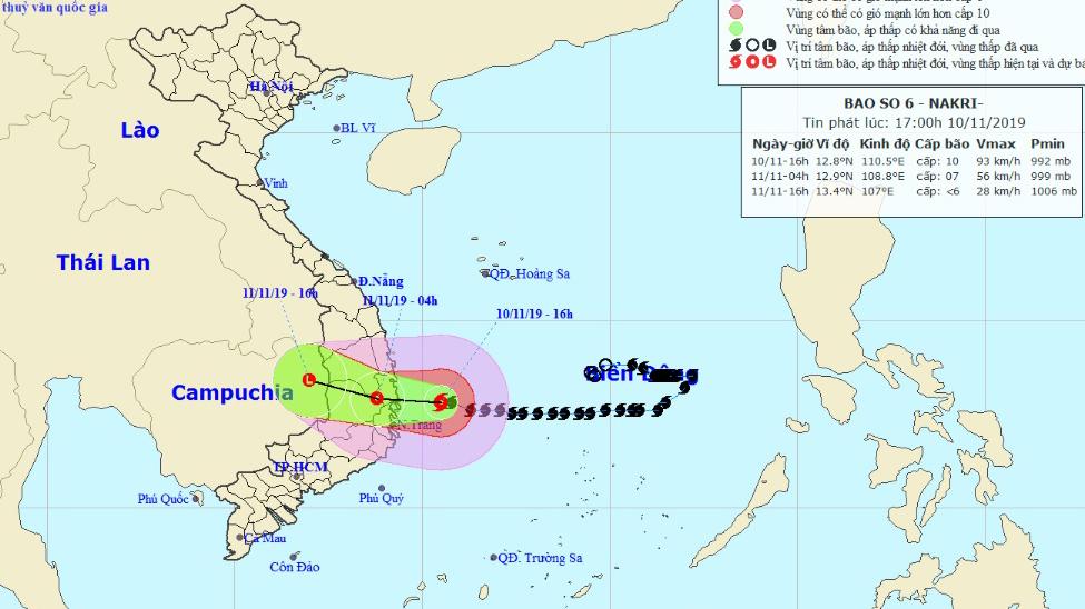 Bão số 6 đổ bộ, mưa rất to tại các tỉnh Quảng Ngãi đến Khánh Hoà