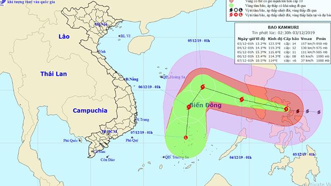 Tin bão mới nhất: Cơn bão Kammuri giật cấp 17 gần biển Đông