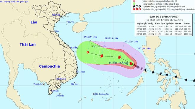 Bão số 8 tin bão mới nhất: Bão giật cấp 13, di chuyển theo hướng Tây Tây Bắc