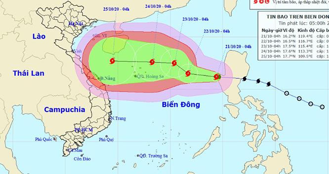 Bão số 8 sẽ mạnh giật cấp 14 đang tiến vào đất liền các tỉnh miền Trung