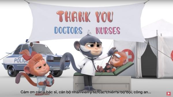 VINTATA tri ân 'anh hùng'chống 'giặc'Covid-19 bằng phim hoạt hình 3D ấn tượng