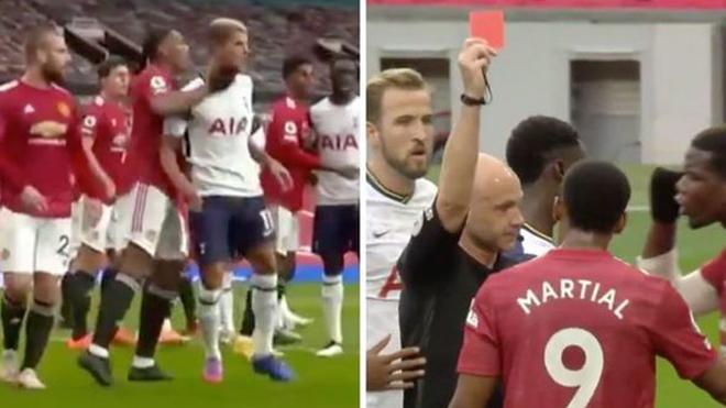 truc tiep bong da, MU vs Tottenham, trực tiếp MU đấu với Tottenham, Martial, Martial bị đuổi, Martial nhận thẻ đỏ, lich thi dau bong da hôm nay, bong da hom nay, bóng đá