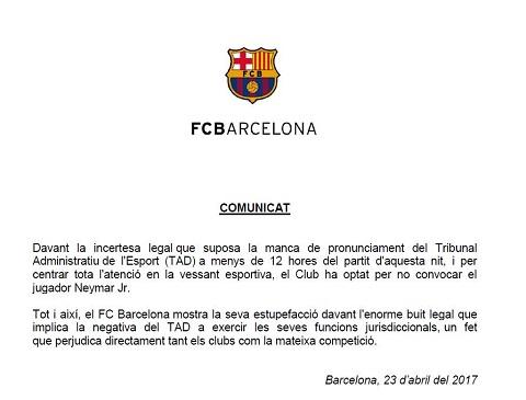Thông báo chính thức của Barcelona