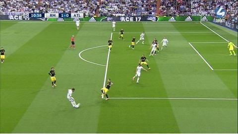 Ronaldo đã đứng dưới hàng phòng ngự của Atletico