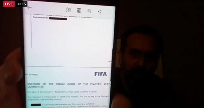 bóng đá Việt Nam, tin tức bóng đá, bong da, tin bong da, Fabio Lopez, bầu Đệ, Thanh Hóa, bồi thường, FIFA, V-League, lịch thi đấu bóng đá hôm nay