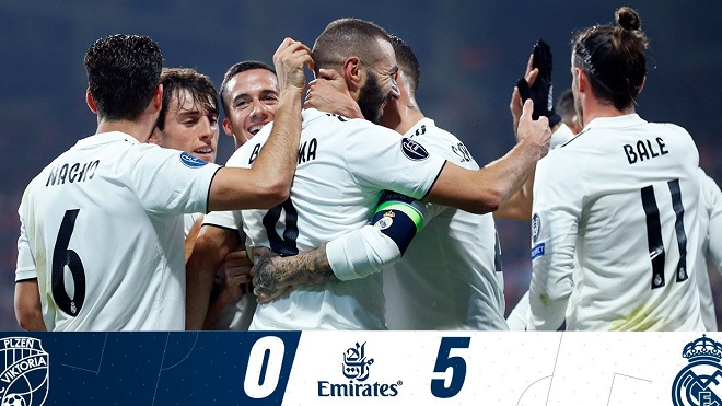 Kết quả cúp C1 hôm nay, kết quả Plzen vs Real Madrid, Video Plzen 0-5 Real Madrid, Plzen vs Real Madrid, Benzema, Gareth Bale, Casemiro, Toni Kroos