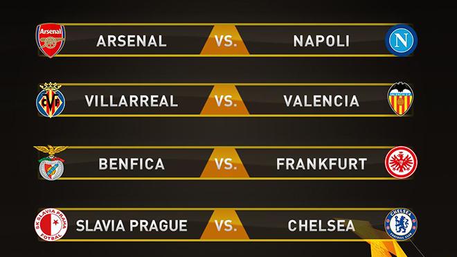 Kết quả Bốc thăm tứ kết Europa League: Đại chiến Arsenal vs Napoli, Chelsea đối đầu Slavia